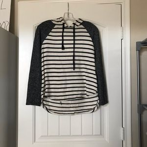 White with black sleeves and grey sleeves sweater